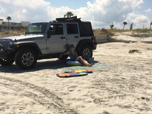 Being able to hang out in shade by the Jeep