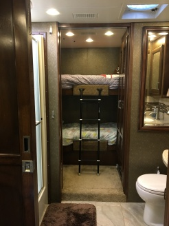 Full bathroom and Bunk Beds. Abby on bottom, Kenzie on top