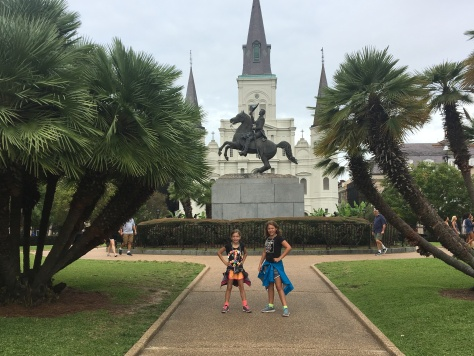Jackson Square, with Jackson's statue at center, and Saint Louis Cathedral