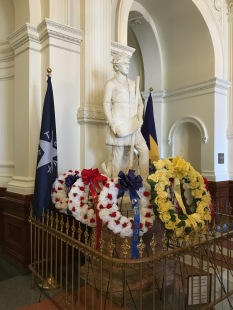 Today was Steven Austin's birthday so they had a wreath ceremony for him. Everyone was dressed in period pieces.